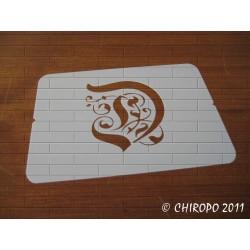 Pochoir Monogramme Gothic - Lettre D en 7cm (0652)