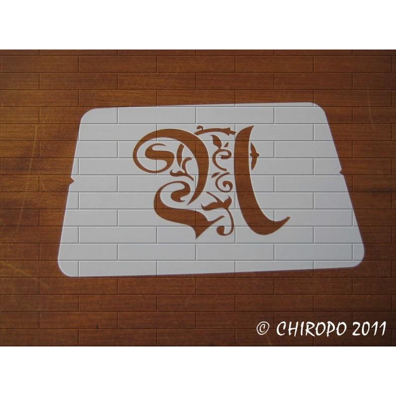 Pochoir Monogramme Gothic - Lettre U en 7cm (0652)