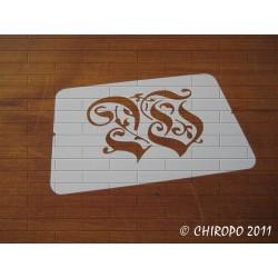 Pochoir Monogramme Gothic - Lettre W en 7cm (0652)