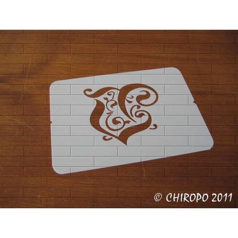 Pochoir Monogramme Gothic - Lettre V en 7cm (0652)