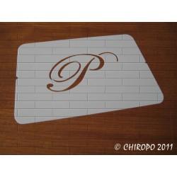 Pochoir Monogramme Script - Lettre P en 5cm (0634)