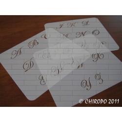 Pochoir alphabet - Script majuscule - 3cm (0634)