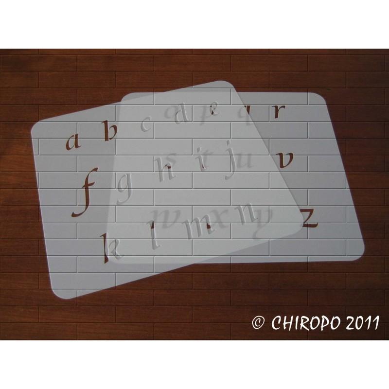 Pochoir alphabet - Courbes minuscule - 3cm (0644)