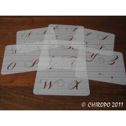 Lot de 6 Pochoirs alphabet 5 cm - Chopin majuscule