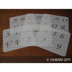 Pochoir alphabet - Corsivia majuscule - 5cm (0651)