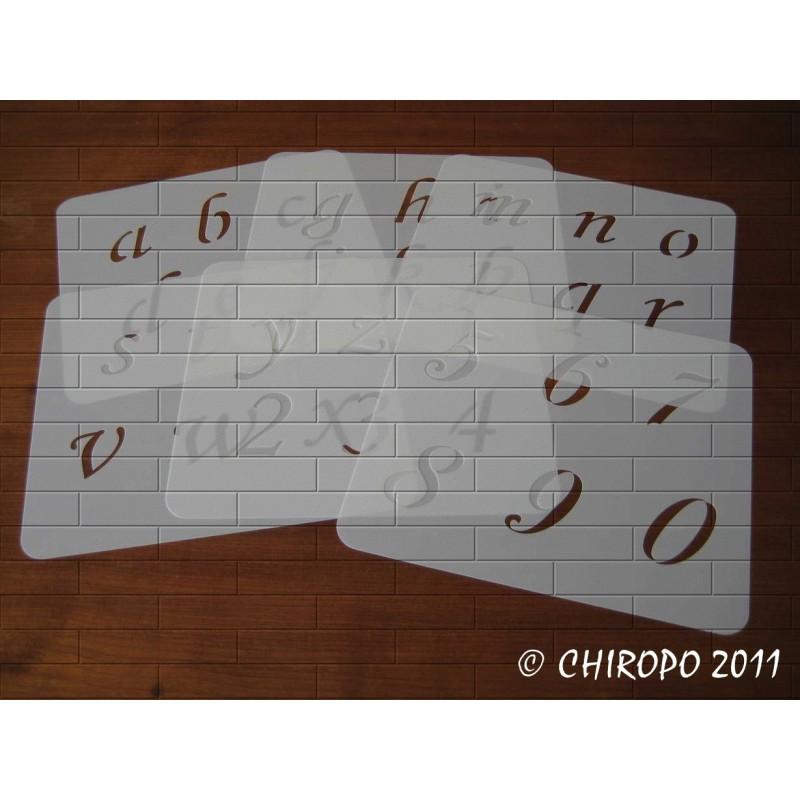 Pochoir alphabet - Corsivia minuscule - 5cm (0650)