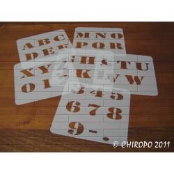 Lot de 6 Pochoirs Lettres et chiffres 5 cm - Army majuscule