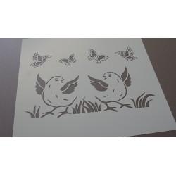 Pochoir oiseaux et papillons (00103)