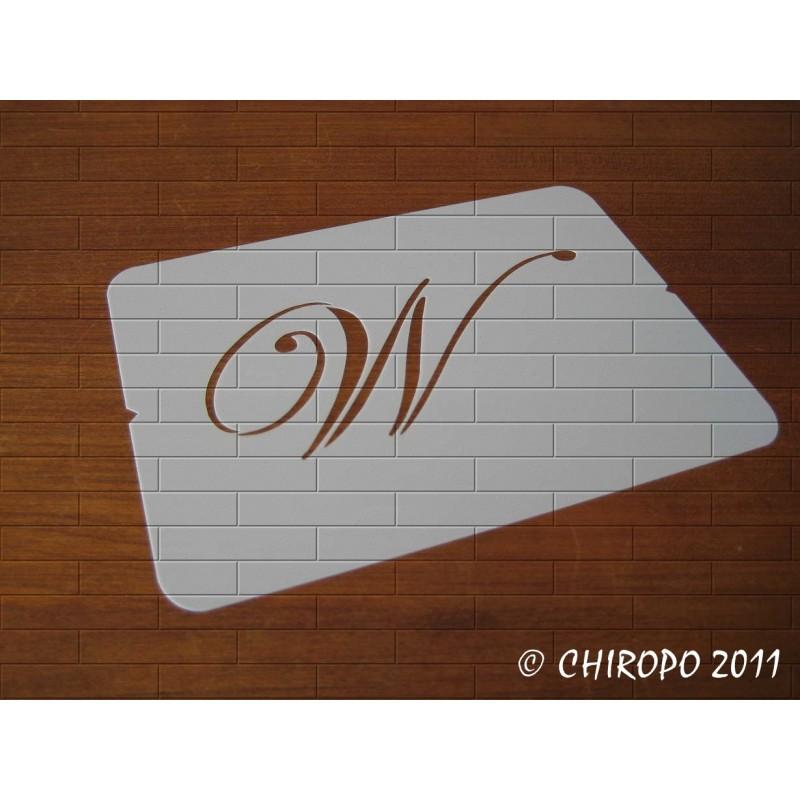 Pochoir Monogramme Script - Lettre W en 5cm (0634)