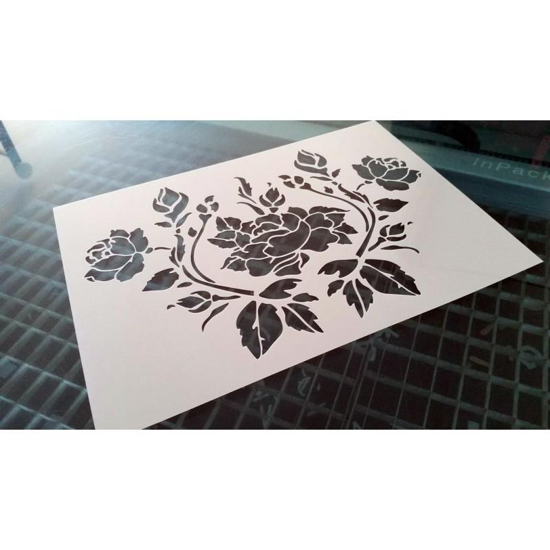Pochoir fleur - Bouquet de roses (00140)