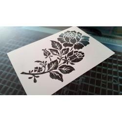Pochoir fleur - Branche de rosier (00141)