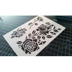 Pochoir fleur - Frise de roses (00142)