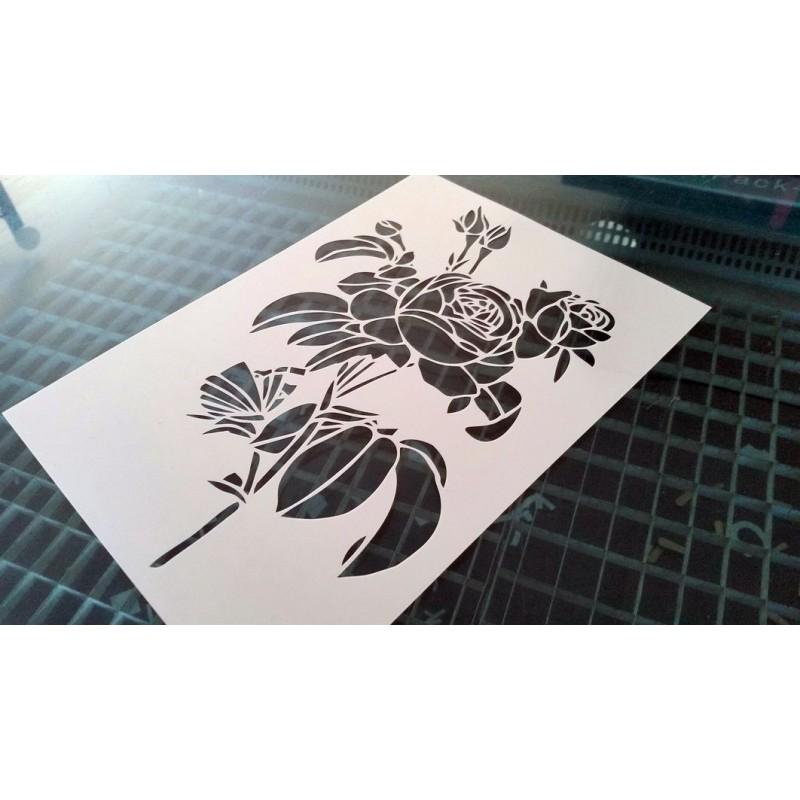 Pochoir fleur - Rosier classique (00144)