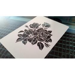 Pochoir fleur - Petit bouquet de roses (00145)