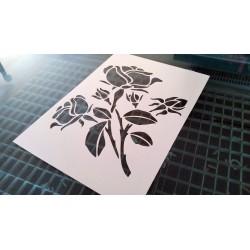 Pochoir fleur - Cinq roses (00146)