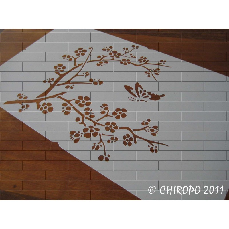 Pochoir Grande Branche Fleur de Cerisier 1 (0420-F10)