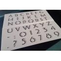 Pochoir alphabet - Lettres majuscules et chiffres 3 cm (00179)