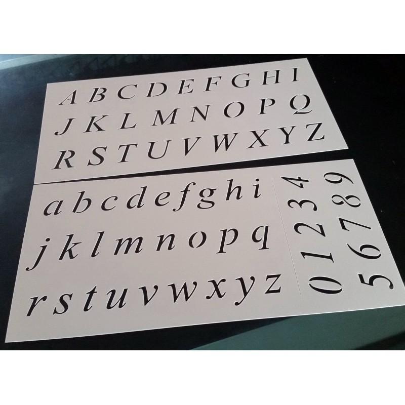 Pochoir alphabet - Lettres et Chiffres 2,5 cm (00181)