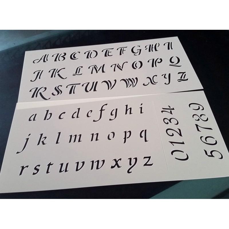 Pochoir alphabet - Lettres et Chiffres 2,5 cm (00176)