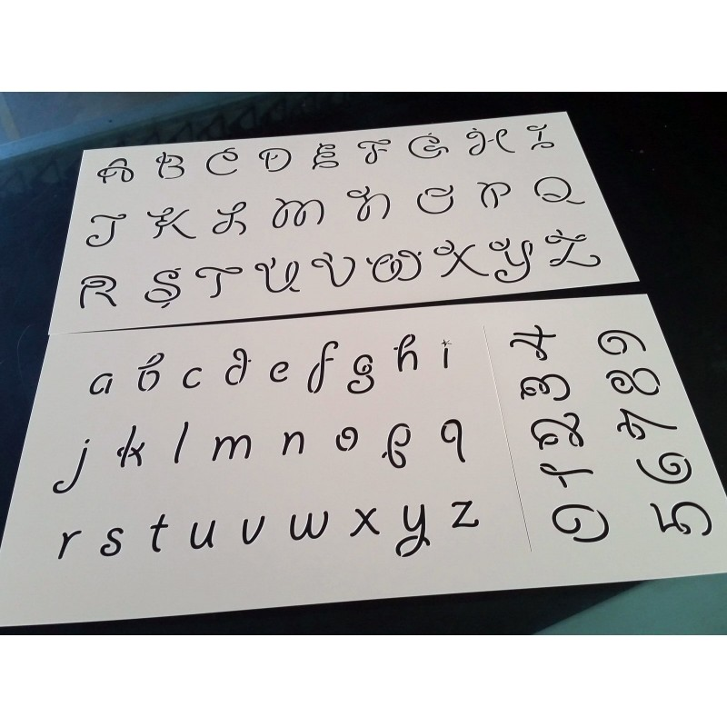Pochoir alphabet - Lettres et Chiffres 2,5 cm (00173)