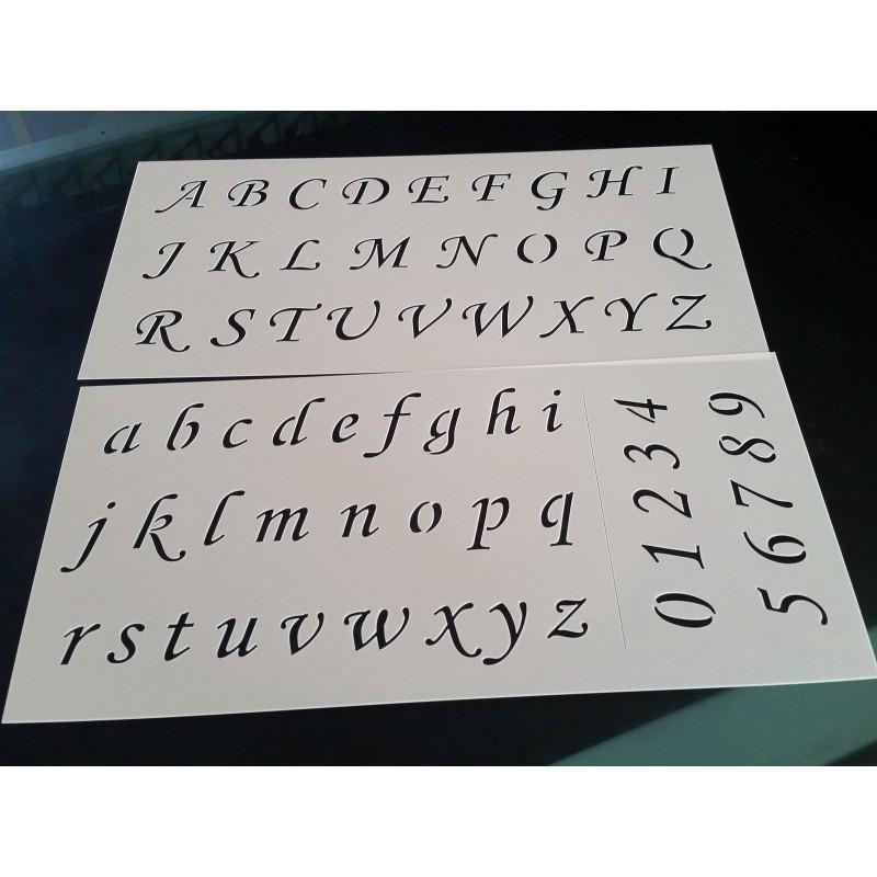 Pochoir alphabet - Lettres et Chiffres 2,5 cm (00171)