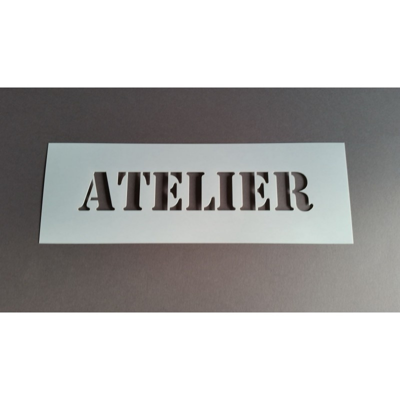 Pochoir mot ATELIER- 10x29 cm
