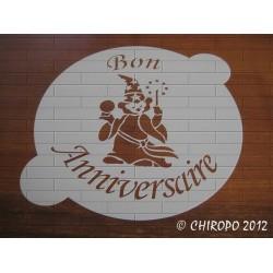 Pochoir à gâteaux - 26 cm - Bon anniversaire magicien (07919)